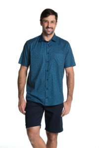 Camisa manga curta Summer Leaves - Mystic Blue