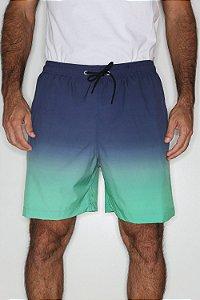 Short Praia Elástico Cordão Verde Azul Tie Dye