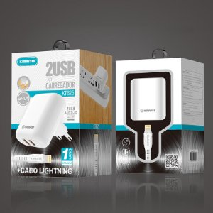 KIT CARREGADOR 2 USB + CABO LIGHTNING
