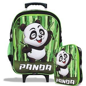 Mochila Escolar de Rodinhas Tam G e Estojo 100 Pens Panda