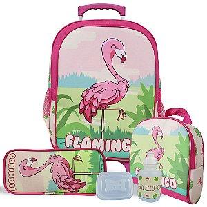Kit Mochila Escolar Infantil Tam G de Rodinhas Flamingo