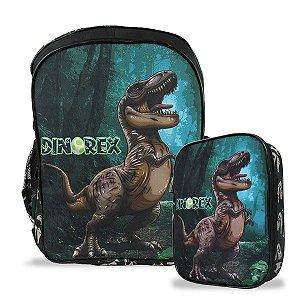 Mochila Escolar Infantil costas e Estojo 100 pens Dino-Rex