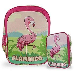 Mochila Escolar Infantil costas e Estojo 100 pens Flamingo