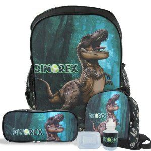 Kit Mochila Escolar Infantil de Costas Tam G Dino-Rex