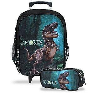 Mochila Escolar Infantil de Rodinhas e Estojo Dino-Rex