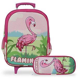 Mochila Escolar Infantil de Rodinhas e Estojo Flamingo