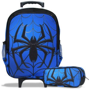 Mochila Escolar Infantil de Rodinhas e Estojo Spider