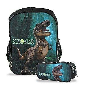 Mochila Escolar Infantil Tam G de costas e Estojo Dino-Rex