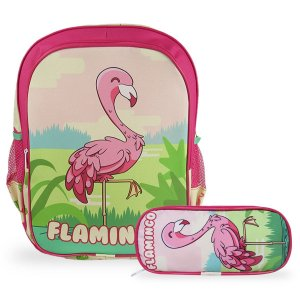 Mochila Escolar Infantil Tam G de costas e Estojo Flamingo