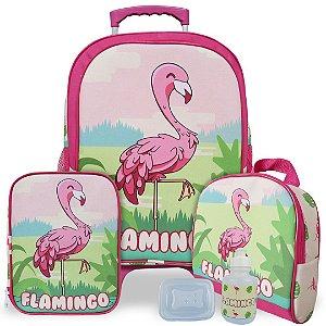 Kit Mochila Escolar Infantil Flamingo Tam G