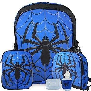 Kit Mochila Escolar Infantil Spider Tam G