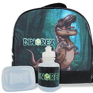 Lancheira Infantil Escolar Térmica + squeeze e pote Dino-Rex