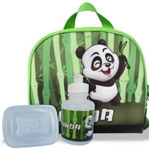 Lancheira Infantil Escolar Térmica + squeeze e pote Panda