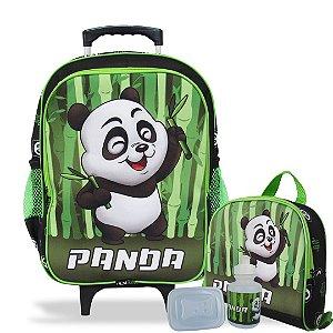Mochila Escolar de rodinhas e Lancheira Panda Tam G