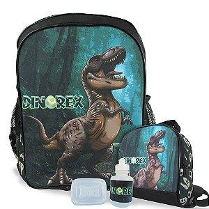 Mochila Escolar de costas e Lancheira Dino-Rex