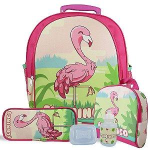 Kit Escolar Mochila Infantil de Rodinhas Tam M Flamingo