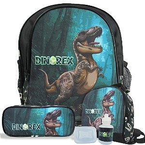 Kit Escolar Mochila Infantil de Costas Tam M Dino-Rex