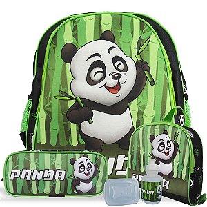 Kit Escolar Mochila Infantil de Costas Tam M Panda
