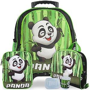 Kit Mochila Escolar Infantil Panda Tam M Rodinhas