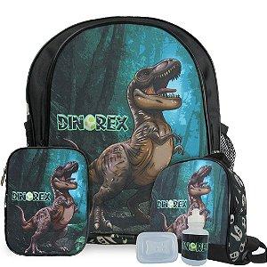Kit Mochila Escolar Infantil Dino-Rex Costas Tam M