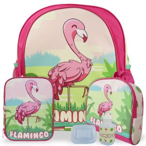 Kit Mochila Escolar Infantil Flamingo Costas Tam M