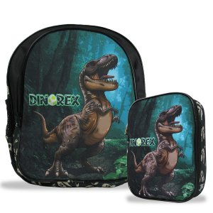 Mochila Escolar de Costas Tam M e Estojo 100 Pens Dino-Rex
