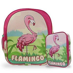 Mochila Escolar de Costas Tam M e Estojo 100 Pens Flamingo