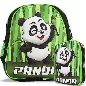 Mochila Escolar de Costas Tam M e Estojo 100 Pens Panda