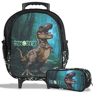 Mochila Escolar de Rodinha Tam M e Estojo Dino-Rex