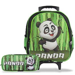 Mochila Escolar de Rodinha Tam M e Estojo Panda