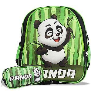 Mochila Escolar de Costas Tam M e Estojo Panda