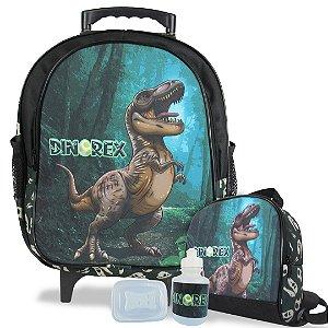Mochila Escolar de Rodinhas Tam M e Lancheira Dino-Rex