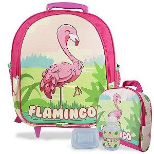 Mochila Escolar de Rodinhas Tam M e Lancheira Flamingo