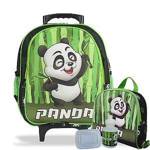 Mochila Escolar de Rodinhas Tam M e Lancheira Panda