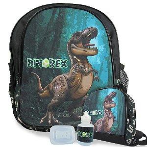 Mochila Escolar de Costas Tam M e Lancheira Dino-Rex