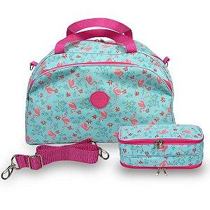 Kit Bolsa de Viagem e Necessaire Feminina Flamingo