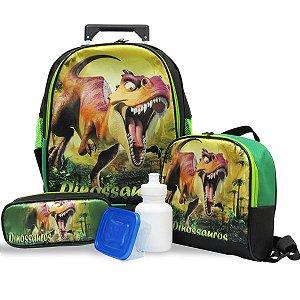 Kit Mochila Escolar Infantil Rodinhas Dinossauro