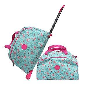 Conjunto Bolsa de Viagem Feminina Flamingo De Ombro e Rodinhas