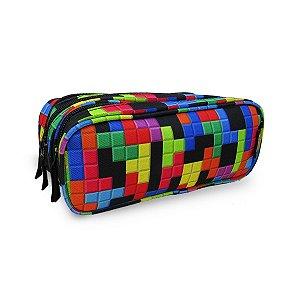 Estojo escolar 3 compartimentos Tetris sestini