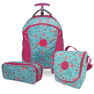 Kit Escolar Infantil Mochila Lancheira e Estojo Duplo Flamingo