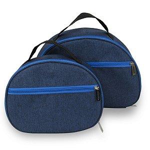 Kit 2 Necessaire Unissex Azul Maquiagem Acessórios
