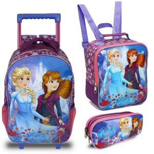 Kit Mochila Escolar Infantil Princesas do Gelo Seanite