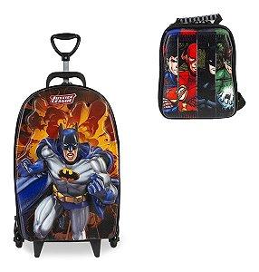 Kit Mochila Escolar Liga Da Justiça Batman 3d Rod+lancheira