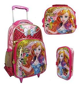 Kit Escolar Infantil Mochila De Rodinhas Princesa Debbie 3d