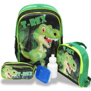 Kit Mochila Escolar Infantil Costas G Dinossauro T rex F1