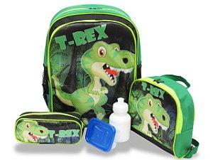 Kit Mochila Escolar Infantil Costas M Dinossauro T- Rex F1