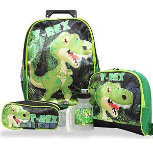 Kit Mochila Escolar Infantil Rodinhas M Dinossauro T- Rex F1