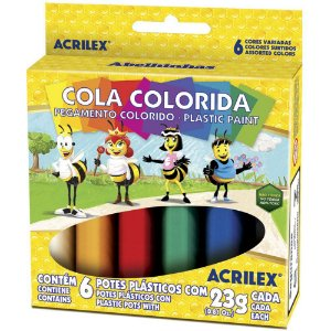 Cola Colorida  6 Cores Plastic Paint