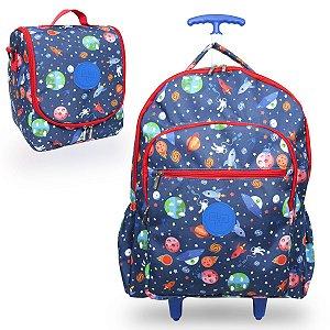 Mochila Escolar Infantil de rodinhas Galaxia  + Lancheira