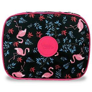 Estojo Escolar Grande 100 pens Flamingos